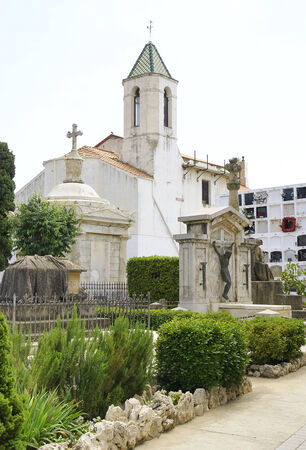 corpses: Panoramic of Cemetery Sitges, Barcelona Stock Photo