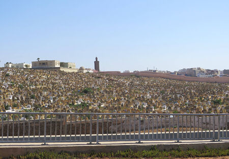 corpses: Cemetery with minaret in the background, Rabat, Morocco, Africa
