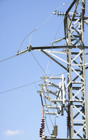 electric material: Detail connections on a high voltage tower