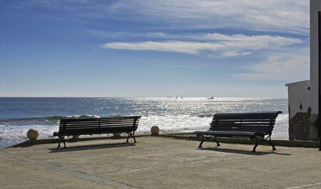 garraf: Gazebo with benches on the beach of El Garraf Barcelona
