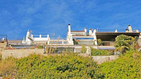 garraf: Balconies roof terraces and buildings of El Garraf Barcelona Stock Photo