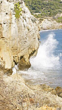 garraf: waves against rocks in the Garraf Barcelona