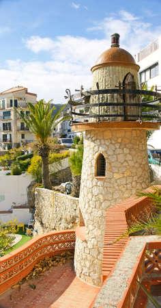 garraf: Ornamental tower in the village of El Garraf Barcelona Editorial