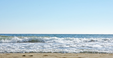 high winds: Waves on a beach in Barcelona Stock Photo