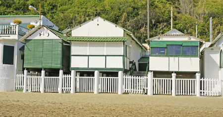 garraf: huts on the beach of El Garraf, Barcelona Stock Photo
