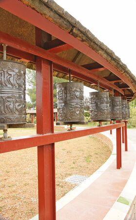 garraf: Buddhist prayer wheels Monastery in El Garraf, Barcelona Stock Photo