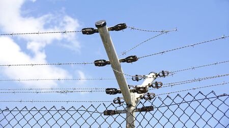 barbed wire fences: Wire against the sky