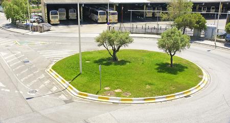 roundabout: Roundabout in an industrial area of El Prat de Llobregat, Barcelona