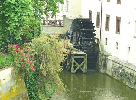 molino de agua: Watermill in the channels of Prague, Czechoslovakia