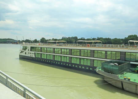 navigable: Danube river boat for tourists in Budapest, Hungary Stock Photo
