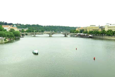 vltava: View of the Vltava River in Prague, Czechoslovakia