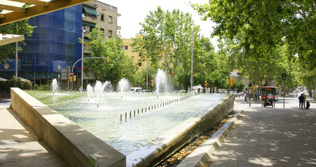 Ornamental fountain in a street in Barcelona, Spain