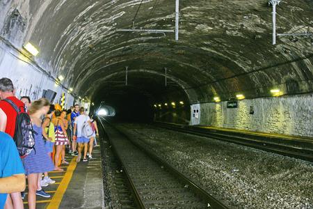 Tunnel of the station of Corniglia, Cinque Terre, La Spezia, Italy