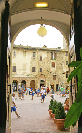 View of the Square in San Gimignano, Tuscany, Italy