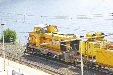 goods train: Train station in Corniglia, Cinque Terre, Ligurian Sea, Italy Editorial