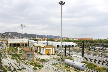 View of the train workshops of La Maquinista, Barcelona