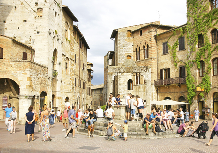 View of the square of San Gimignano, Tuscany, Italy