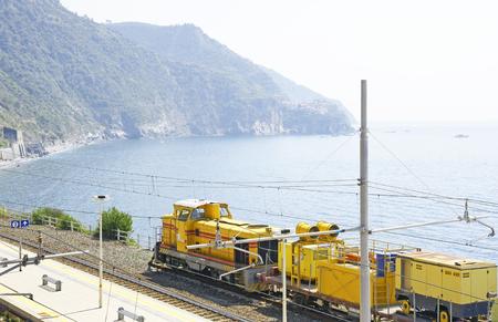 goods train: Train station in Corniglia, Cinque Terre, Ligurian Sea, Italy Editorial