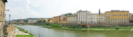 Arno River as it passes through Florence, Tuscany, Italy