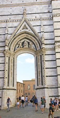 Facade of entrance to a square in Florence, Tuscany, Italy Editorial