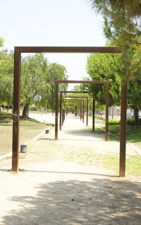 Decorative structures in a park of Castelldefels, Barcelona Stock Photo