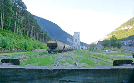 Freight train at the old station of Canfranc, Huesca, Spain