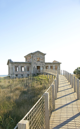 swampland: Viewpoint of the Semafor in the Delta del Llobregat, Barcelona Stock Photo