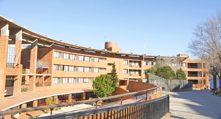 Interior of the semi circular building in the neighborhood of La Taxonera, Barcelona, Catalunya, Spain