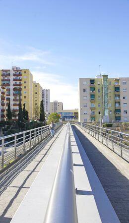 Corridor of the Molí Nou Bridge, Colonia Guell, Barcelona Imagens - 84483233