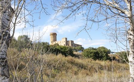 Castle Colonia Guell from the Delta del Llobregat, Barcelona Imagens