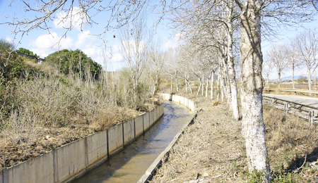 guardrails: Canal irrigation in the Delta del Llobregat, Barcelona