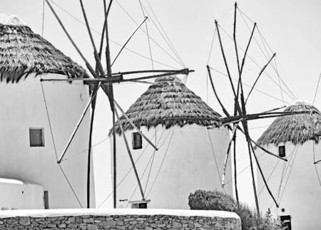 Windmills in Mykonos, Cyclades Islands, Aegean Sea, Greece, Europe