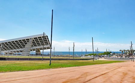 Solar roof in the Parc Forum of Barcelona, Catalunya, Spain Stock Photo