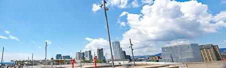 Buildings on the Diagonal Mar seen from Parc Forum, Barcelona, Catalunya, Spain Редакционное