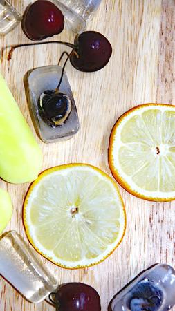 Orange and lemon ice cream Stock Photo