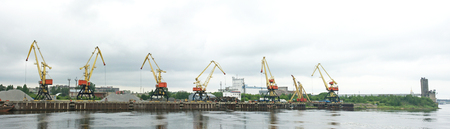 Cranes on the rivers edge in Rybinsk, Russian Federation