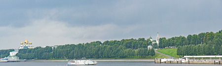 Boats on the river in Yaroslavl, Russian Federation