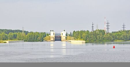 Entrance to a sluice on the Volga river in Russia