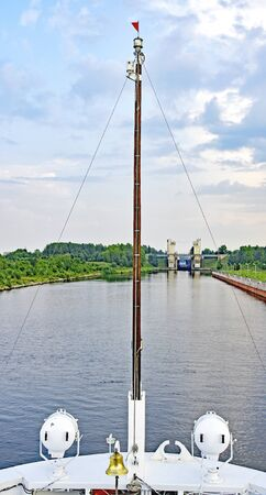 Bow of a river boat on the Volga river in Russia