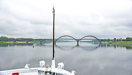 Bow of a cruise ship on the Volga river, Russian Federation