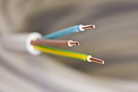 電源ケーブルのクローズ アップ