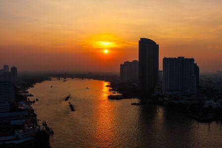 Sunset over the Chao Praya River in Bangkok