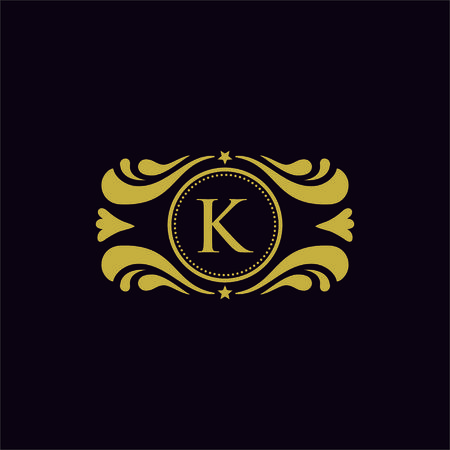 Set of vector elements in style of mono line. Luxury template in vector for Restaurant