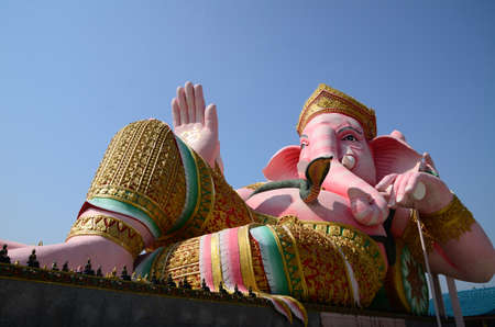 Ganesha in pink sleeping posture  Located in Nakhon Nayok Province in Thailand