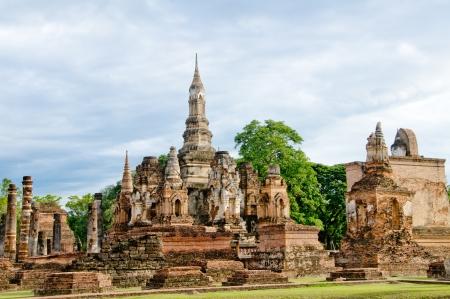 ancient buddha image statue at Sukhothai historical park Sukhothai province Thailand photo