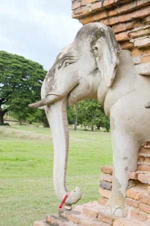 Ancient elephant statue in Sukhothai historical park, Thailand Stock Photo