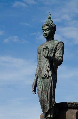 nakhon: Big Buddha image with blue sky at Phutthamonthon, Nakhon Pathom, Thailand
