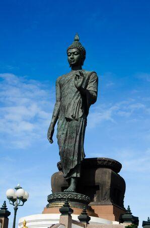 Big Buddha image with blue sky at Phutthamonthon, Nakhon Pathom, Thailand Stock Photo - 15087783