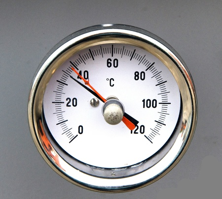 swelter: Thermometer inside the transformer Stock Photo