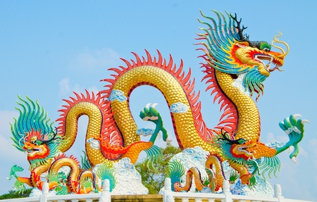 Beautiful dragon with blue sky in thailand